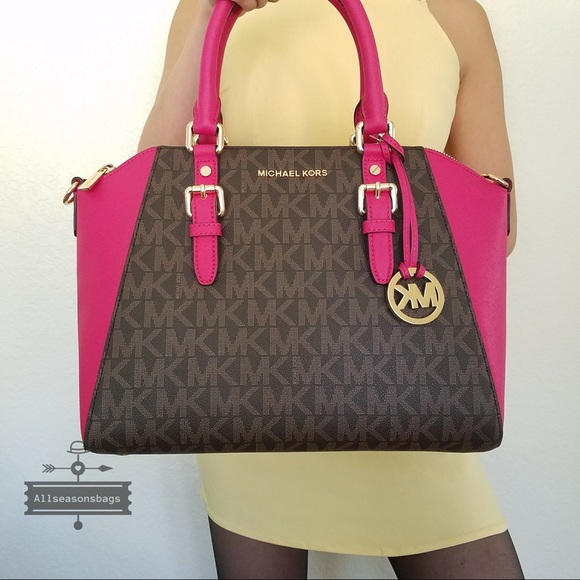 f026b9353e NWT Michael KORS Ciara Large satchel brown pink